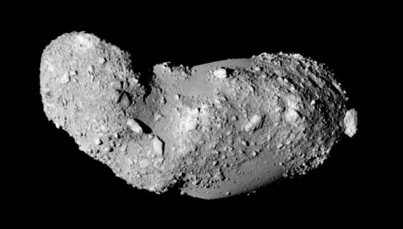 This very detailed view shows the strange peanut-shaped asteroid Itokawa. This picture comes from the Japanese spacecraft Hayabusa during its close approach in 2005. Image released Feb. 5, 2014.