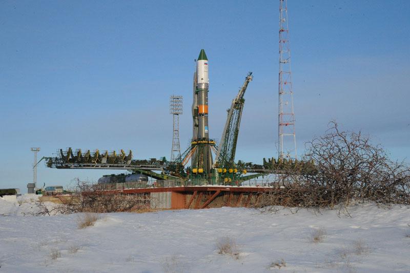 Progress 54 and Soyuz Rocket on Pad