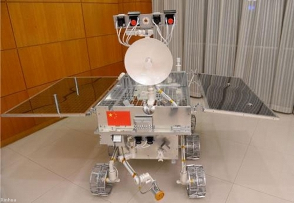 A scale model of the Yutu rover shows its more anthropomorphic attributes.