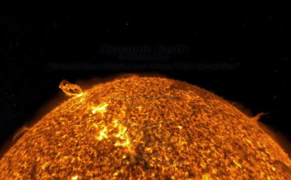 "The active sun dominates this still image from NASA's ""Dynamic Earth,"" a four-minute animation describing the relationship between the sun and Earth's climate and weather. The animation won the 2013 International Science and Engineering Visualization Challenge held by the journal Science and National Science Foundation."