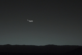 This annotated view points out Earth in the Mars night sky as seen by NASA's Curiosity rover on Jan. 31, 2014 about 80 minutes after local sunset.