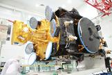 The Athena-Fidus dual broadband telecommunications satellite built by Thales Alenia Space for France and Italy is seen here before its Feb. 6, 2014 launch aboard a European Ariane 5 rocket from Guiana Space Center in Kourou, French Guiana.
