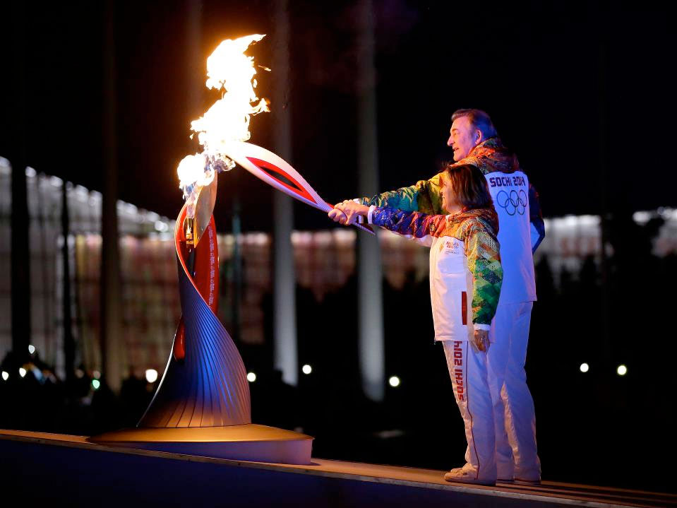 Sochi Winter Olympics Launch with Space-Flown Torch, Cosmonaut Flag-Bearers