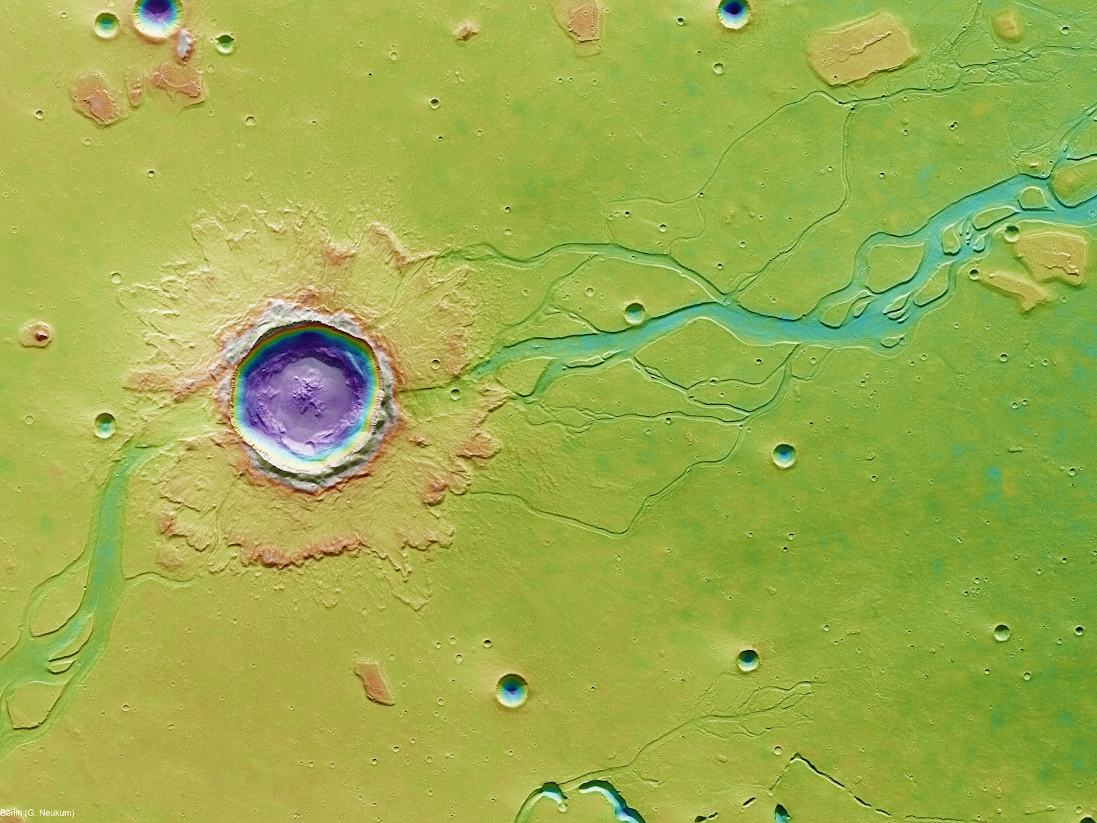 Hephaestus Fossae Crater Impact Flood