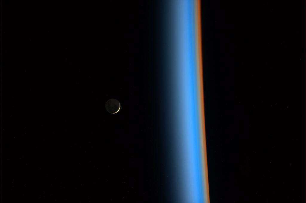 Koichi Wakata: Crescent Moon Rising and Earth's Atmosphere