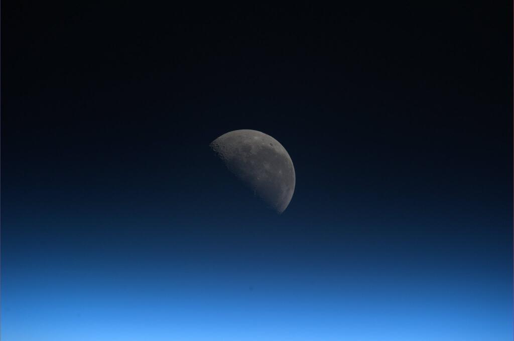 Koichi Wakata: Rising Moon Meets Blue Atmosphere