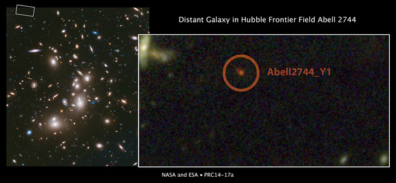 In this Hubble Space Telescope deep image of galaxy cluster Abell 2744, scientists spotted the galaxy Abell2744_Y1 (inset), one of the most distant galaxies in the universe.