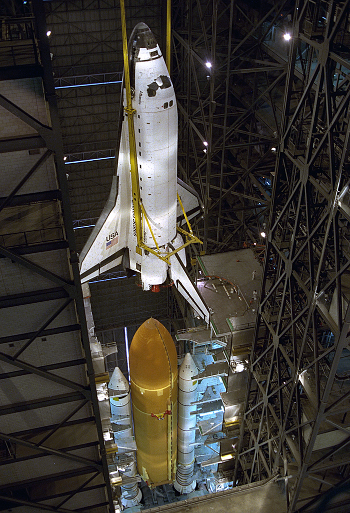 Space History Photo: STS-79 Destacking in VAB