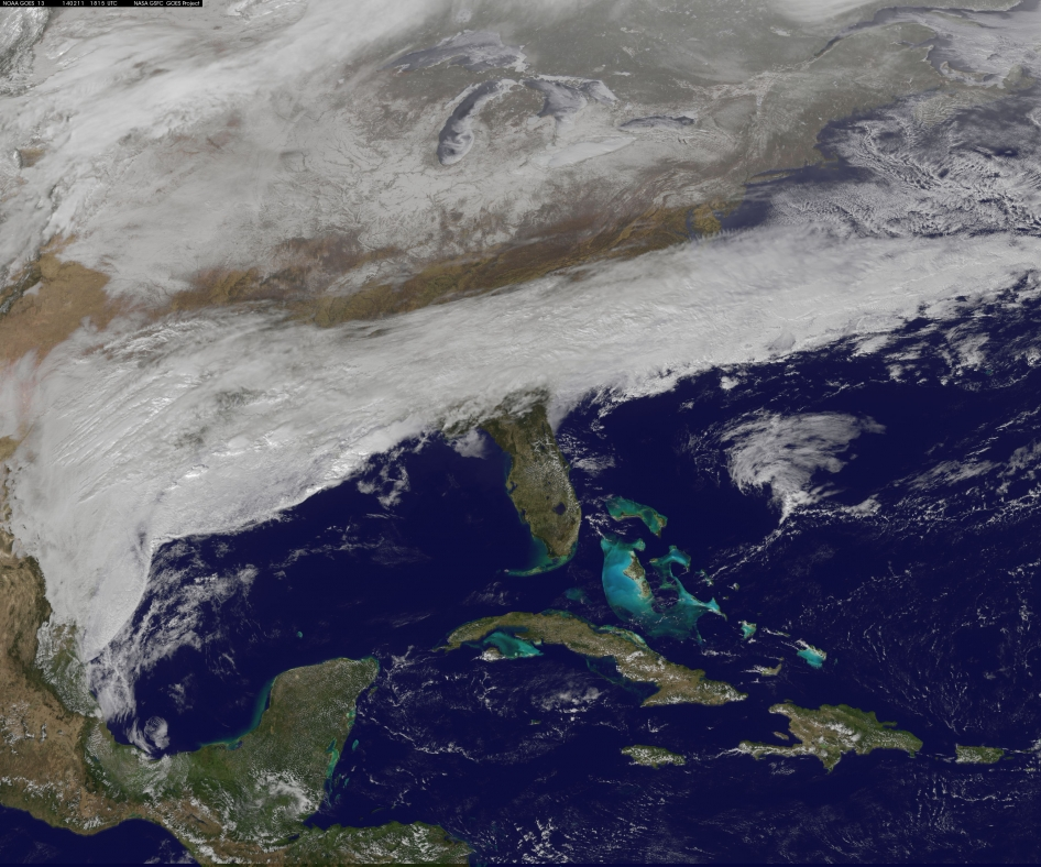 Winter Storm Battering Southeast Seen from Space