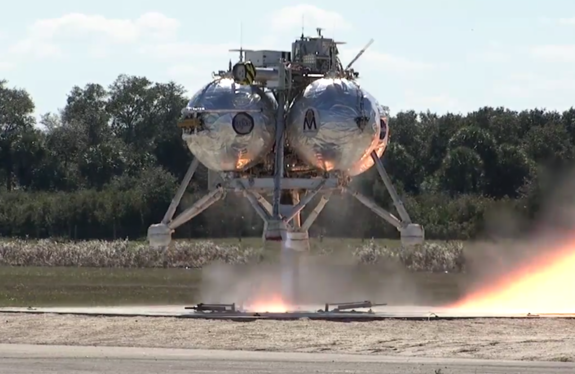 NASA's Morpheus lander lifts off on Feb. 10, 2014 at the Kennedy Space Center's Shuttle Landing Facility in Florida.