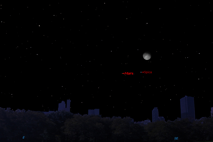 Moon, Mars and Star Form Celestial Triangle Wednesday Night