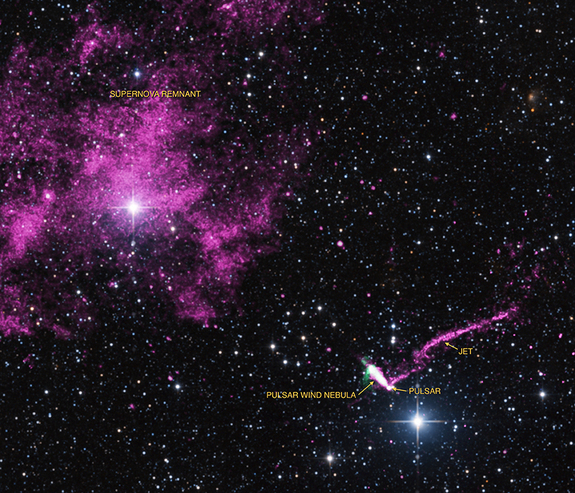 The runaway pulsar IGR J1104-6103 fires off the longest X-ray jet in the Milky Way Galaxy (jet extends up and to the right from lower right) in this view taken by combining observations from NASA's Chandra X-ray Observatory (purple) and other radio and optical telescopes. The jet's tail extends across 37 light-years, the longest ever seen. Image released Feb. 18, 2014.