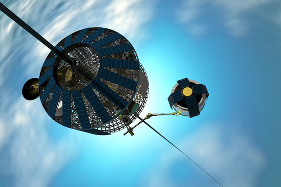 Electric-powered climber spacecraft rides up the space elevator.