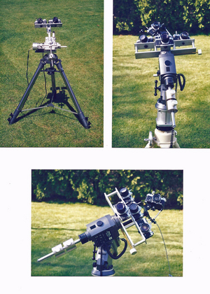 Home-built rack-and-pinion mount for two cameras or a small telescope, and two images of a store-bought mount that I modified for meteor patrol — this mount can carry up to five cameras at once.