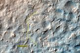 """This map shows the route driven and route planned for NASA's Curiosity Mars rover from before reaching """"Dingo Gap"""" -- in upper right -- to the mission's next science waypoint, """"Kimberley"""" (formerly referred to as """"KMS-9"""") -- in lower left."""