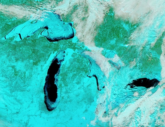 A false color image of the frigid Great Lakes on Feb. 19, 2014.