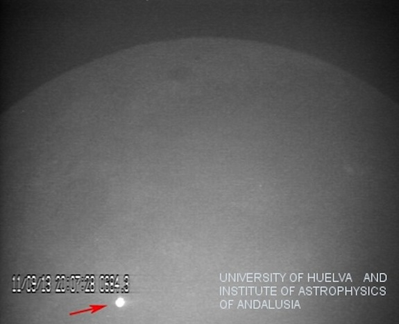 The impact of a large meteorite on the lunar surface on Sept. 11, 2013, resulted in a bright flash, observed by scientists at the MIDAS observatory in Spain.