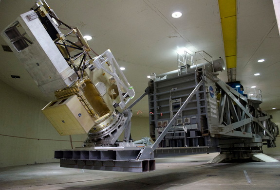 NASA technicians spun the Global Precipitation Monitor (GPM) satellite up to just over 10 RPM in Goddard Space Flight Center's High-Capacity Centrifuge facility March 31, 2011. At that speed, the spin exerted a lateral pressure of 2.4 G's, or 2.4 times the force of gravity on the satellite.