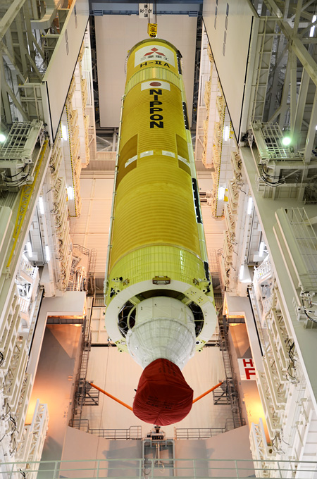 GPM's H-IIA Launch Vehicle No.23, First Stage VOS (Vehicle on Stand)