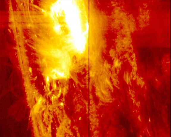 NASA's IRIS spacecraft witnessed a solar flare erupt on the sun at 2:40 p.m. EST pon Jan. 28, 2014.