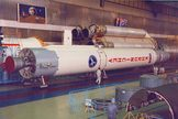 A prototype of Russia's Angara rocket at the Khrunichev assembly facility.