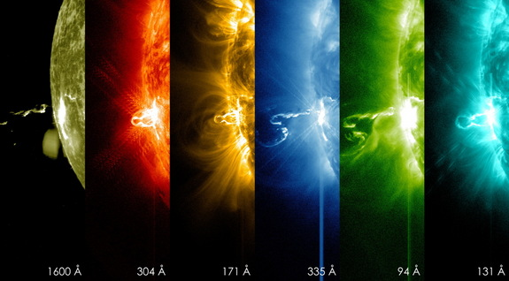 On Feb. 24, 2014, the sun emitted a significant solar flare, peaking at 7:49 p.m. EST. NASA's Solar Dynamics Observatory (SDO), which keeps a constant watch on the sun, captured images of the event. These SDO images from 7:25 p.m. EST on Feb. 24 show the first moments of this X-class flare in different wavelengths of light -- seen as the bright spot that appears on the left limb of the sun. Hot solar material can be seen hovering above the active region in the sun's atmosphere, the corona.