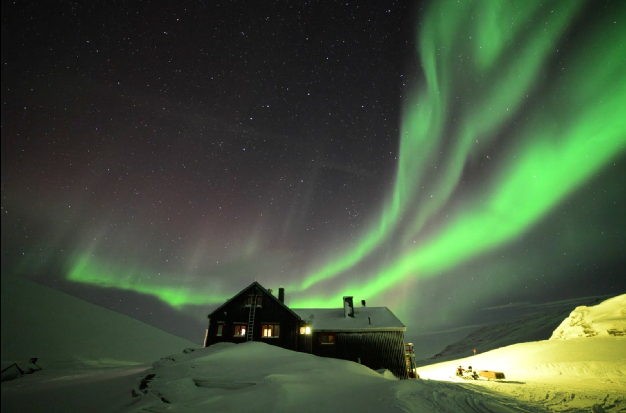 Auroras Dance Over Swedish Mountains