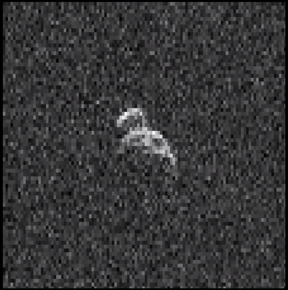 Radar data of asteroid 2006 DP14 were obtained in February 2014. The asteroid is about 1,300 feet (400 meters) long, 660 feet (200 meters) wide. Image uploaded Feb. 25, 2014.