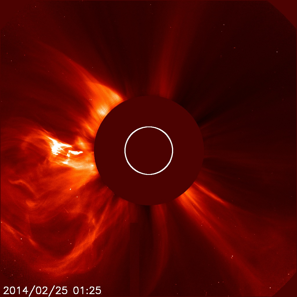 SOHO Coronagraph View of O-Type CME, Feb. 25, 2014