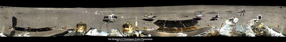 This image is a five-position 360-degree panorama of the Chang'e-3, Yutu Rover landing site created by Ken Kremer and Marco Di Lorenzo. It was stitched from individual pictures released to a state-run China news outlet. The initial panoramic was then enhanced to improve contrast, lighting and uniformity, which revealed more detail.