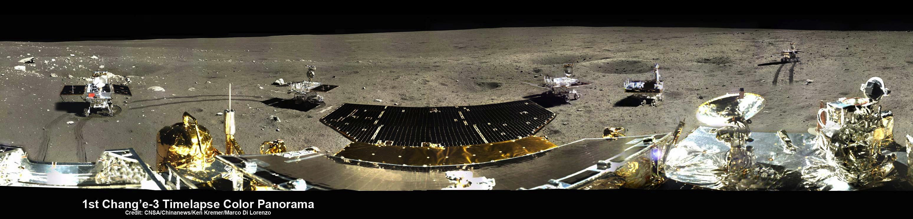 5-Position Panorama Shows Yutu Rover Movements