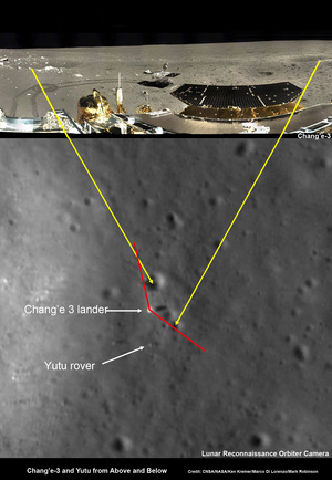 This composite image shows Chang'e-3, Yutu Rover landing site created by Ken Kremer and Marco Di Lorenzo as well as an LRO orbital image taken by the LROC NAC camera showing correlating positions from orbit and the surface. The red bars show the approximate field of view of the Chang'e-3 lander panorama.