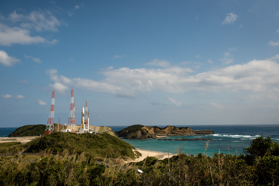 A Japanese H-2A rocket carrying the NASA-Japan Aerospace Exploration Agency (JAXA), Global Precipitation Measurement (GPM) Core Observatory is seen as it rolls out to launch pad 1 of the Tanegashima Space Center, Thursday, Feb. 27, 2014.