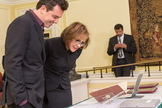 Seth MacFarlane and Ann Druyan look at items from The Seth MacFarlane Collection of the Carl Sagan and Ann Druyan Archive, which were on display today at the Library of Congress for the official opening of the archive.