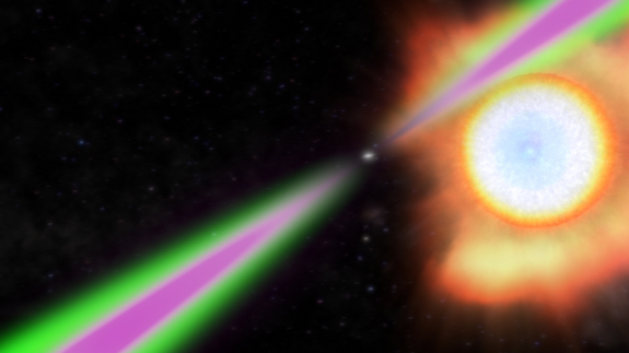 "Spinning 390 times a second, the ""black widow"" pulsar PSR J1311−3430 periodically swings its radio (green) and gamma-ray (magenta) beams past Earth in this artist's concept. The pulsar heats the facing side of its stellar partner to temperatures twice as hot as the sun's surface and slowly evaporates it."