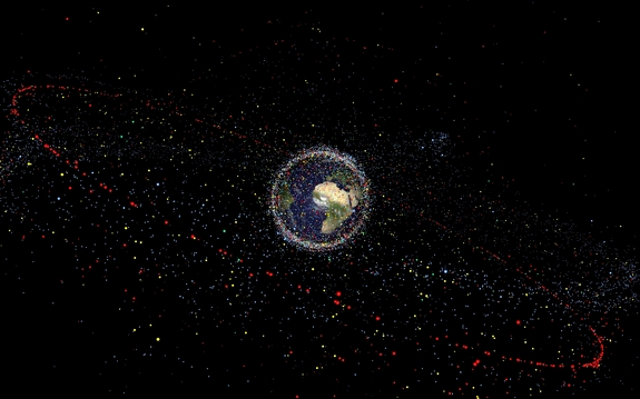 This illustration depicts the amount of space junk currently orbiting Earth. Scientists estimate the total number of space debris objects in orbit to be around 29 000 for sizes larger than 10 cm, 670 000 larger than 1 cm, and more than 170 million larger than 1 mm.