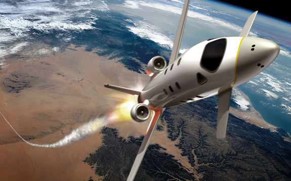 "Artist's concept of EADS' ""space jet"" rocketing into suborbital space."