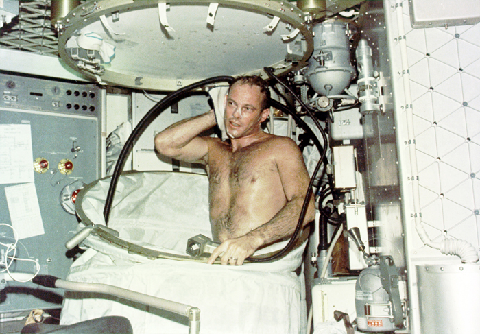 Space History Photo: Showering on Skylab