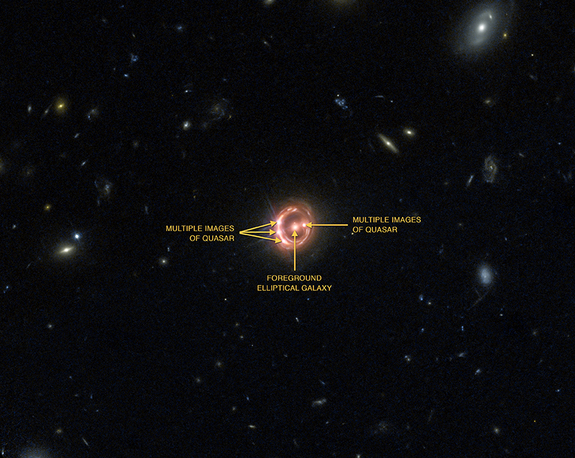 This labeled image shows the different components of the  distant quasar known as RX J1131-1231 from Chandra and Hubble. The Chandra data, along with data from ESA's XMM-Newton, were used to directly measure the spin of the supermassive black hole powering this quasar.