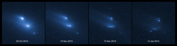 This series of images shows the asteroid P/2013 R3 breaking apart, as viewed by the NASA/ESA Hubble Space Telescope in 2013. This is the first time that such a body has been seen to undergo this kind of break-up. This image was released March 6, 2014.
