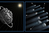 This illustration shows one possible explanation for the disintegration of asteroid P/2013 R3.