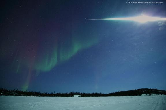 Astrophotographer Yuichi Takasaka tweeted this photo of a fireball over Vee Lake, Yellowknife, NWT, Canada, on March 5, 2014.