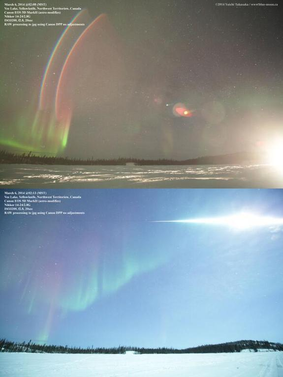 Astrophotographer Yuichi Takasaka tweeted this photo of a fireball over Vee Lake, Yellowknife, NWT, Canada, on March 5, 2014. The top photo shows the brightness of a car's high-beam headlights which passed by 5 minutes earlier.