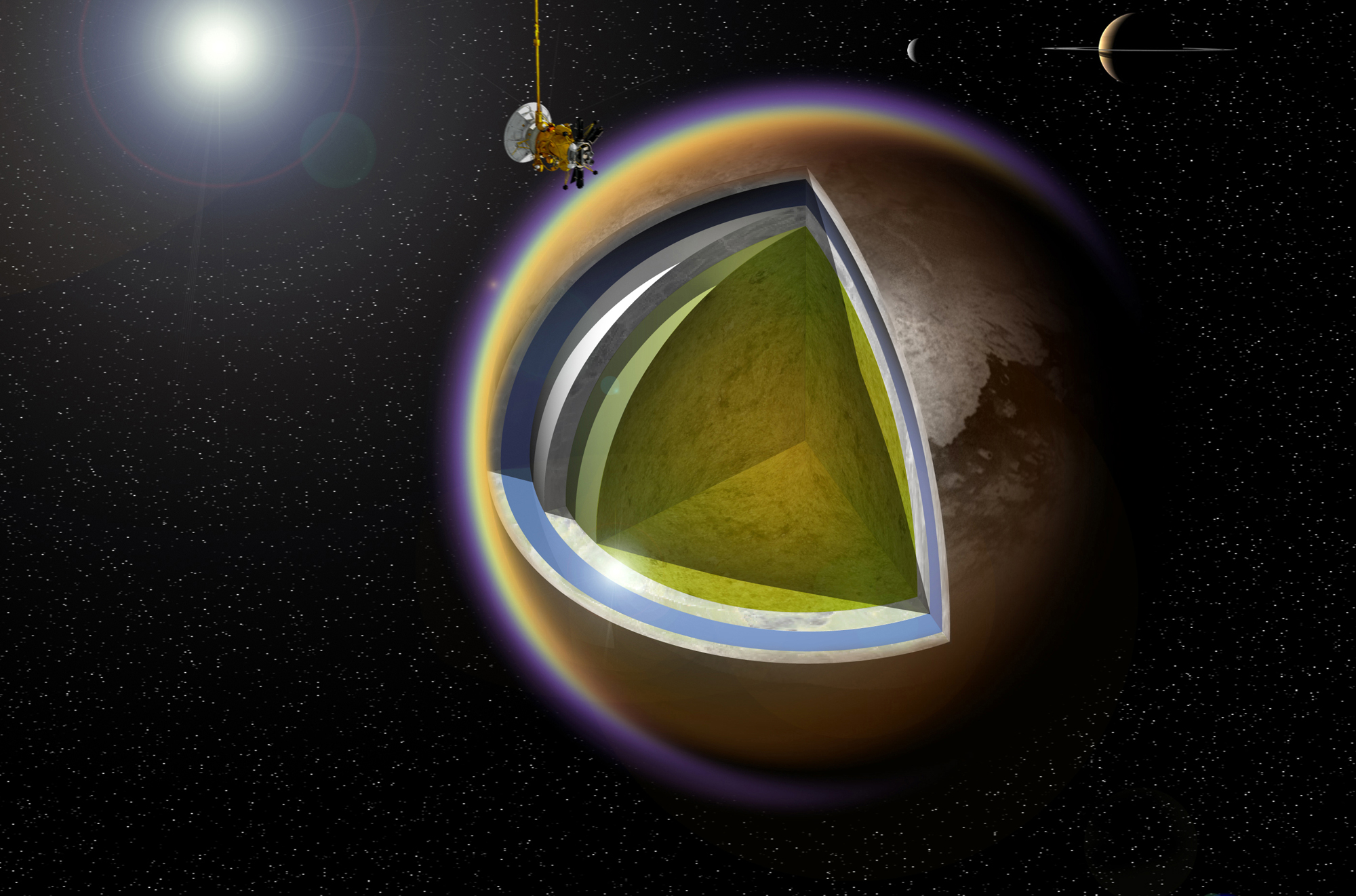 NASA Spacecraft Buzzes Saturn's Largest Moon Titan for 100th Time