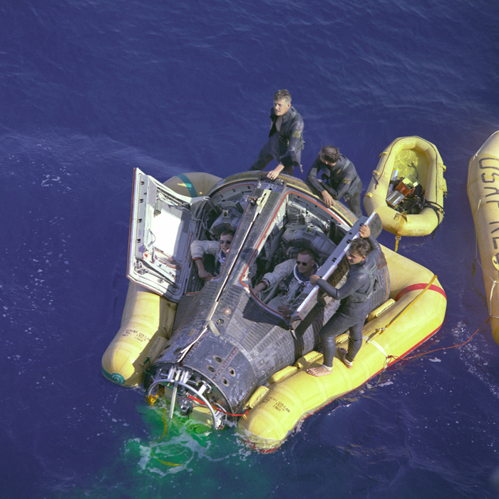 Space History Photo: Armstrong and Scott with Hatches Open