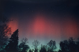 Photograph of the aurora of March 13, 1989, taken from Sea Cliff, NY, by Ken Spencer. The view is looking roughly northeast.