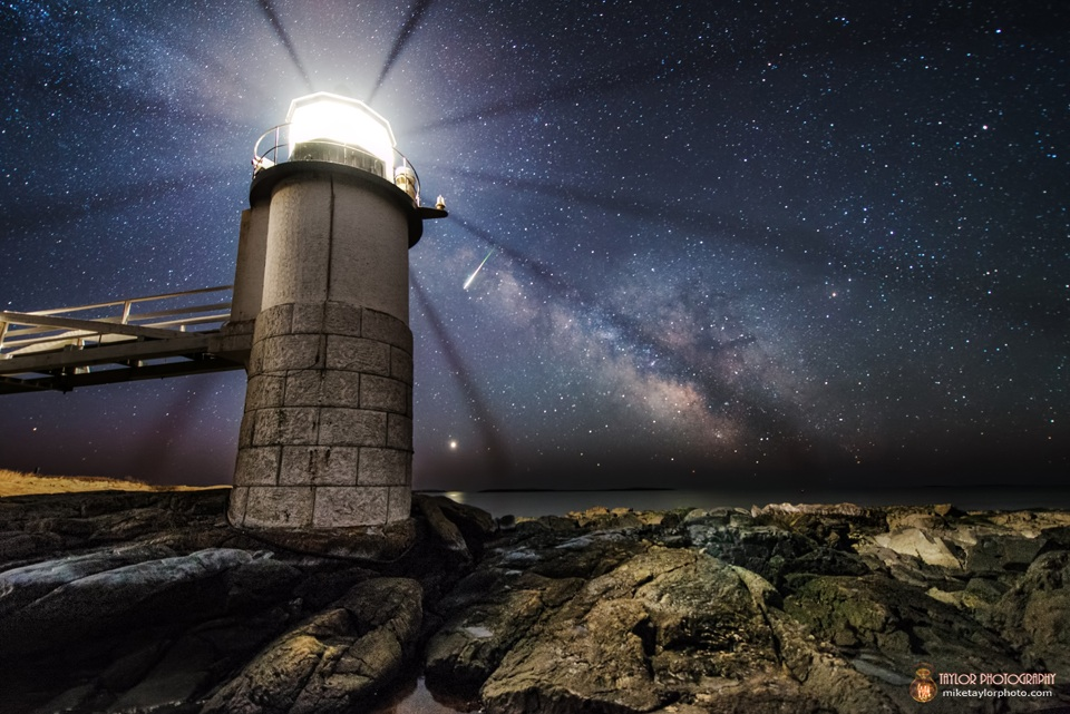 Meteor, Milky Way, Venus and Lighthouse