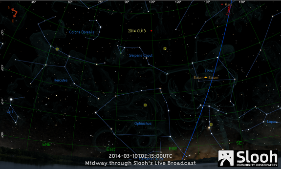 This sky map shows the location of the near-Earth asteroid 2014 CU13 during a March 9, 2014 webcast by the Slooh online community observatory. The asteroid will pass Earth safely at a distant range of about 1.9 million miles.