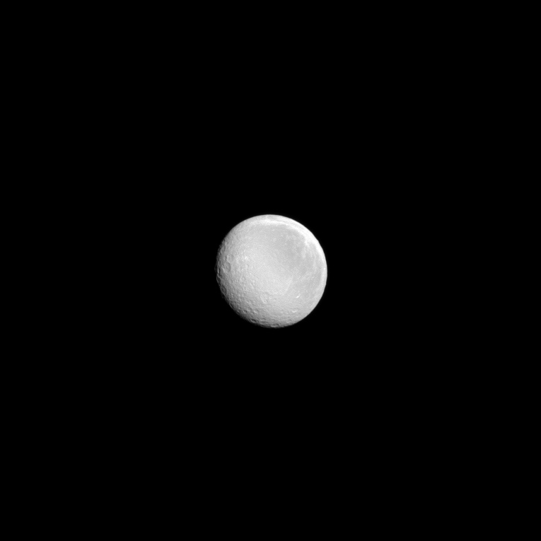 Saturn's Full Moon: Rhea Shines Bright for Cassini