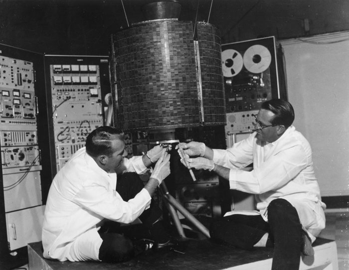 Space History Photo: Engineers checkout Early Bird-Communication Satellite